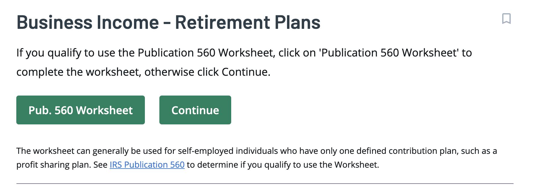 Ingresos de jubilación de TaxAct Corporate