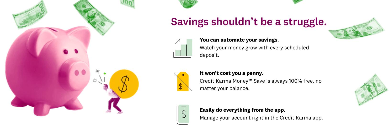 Ahorro de dinero de crédito de karma